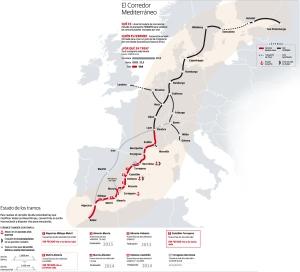 La líneas  vermellas  son els traçats del EIX.  traçat del EIX-MEDITERRANI